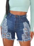 Summer Plus Size Dunkelblaue Jeansshorts mit hoher Taille und hoher Taille