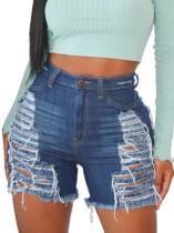 Pantalones cortos de mezclilla de cintura alta rasgados azul oscuro de talla grande de verano