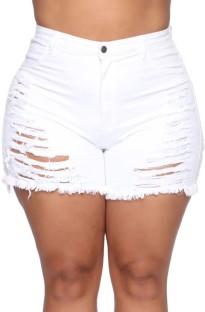 Shorts jeans de cintura alta rasgados de verão plus size branco