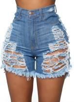 Pantalones cortos de mezclilla de cintura alta rasgados azul claro de talla grande de verano