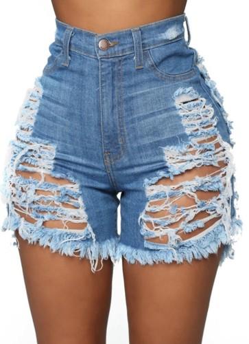 Summer Plus Size Light Blue Ripped High Waist Denim Shorts