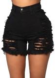 Summer Plus Size – Schwarze, zerrissene Jeans-Shorts mit hoher Taille