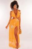 Sommer-Print O-Ring Neckholder langes Kleid ausgeschnitten