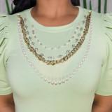 Sommergrünes formelles Hemd mit Puffärmeln und Perlen