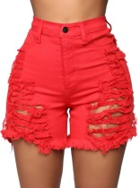 Pantalones cortos de mezclilla de cintura alta rasgados rojos de talla grande de verano