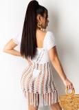 Vestido de flecos de crochet blanco de verano encubrimiento