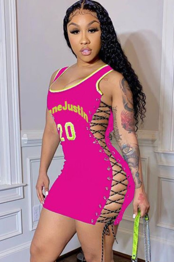 Sommer Sport Pink Print Sexy Lace-Up Enges Trägerkleid