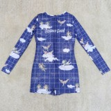 Mamelucos ajustados sexy transparentes de manga larga azul con estampado de verano