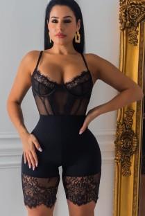 Macacão de verão preto com remendo de renda sexy e bodycon