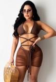 Conjunto de falda de tres piezas sexy de verano marrón