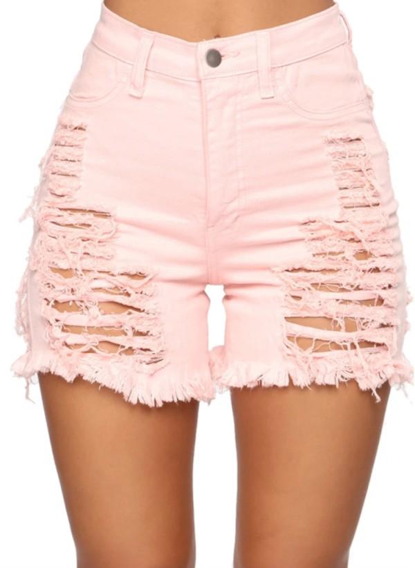 Summer Plus Size Pink Pantalones cortos de mezclilla de cintura alta rasgados