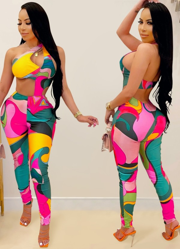 Sommer Sexy Multicolor Cut Out One Shoulder Bodycon Jumpsuit