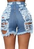 Summer Plus Size Hellblaue, zerrissene Jeansshorts mit hoher Taille