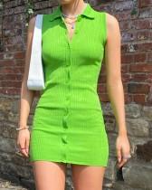 Mini abito senza maniche sexy in maglia verde estivo Summer