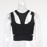 Sommer Sexy Schwarzes Party-Crop-Top mit Cut-Outs