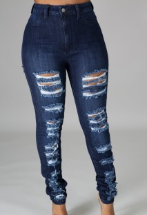 Yaz Yüksek Bel Yırtık Mavi Jeans