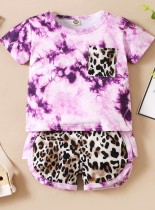 Conjunto de shorts de 2 peças estampado para bebê menina verão gravata