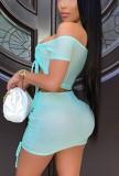 Conjunto de minifalda y top corto fruncido sexy de verano azul