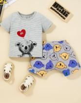 Set di 2 pezzi di pantaloncini estivi con stampa animalier per bambina