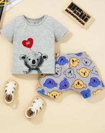 Conjunto de shorts de 2 peças com estampa de animal de verão para bebê menina