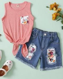 2 delige set voor meisjes met zomerbloemen en spijkerbroek