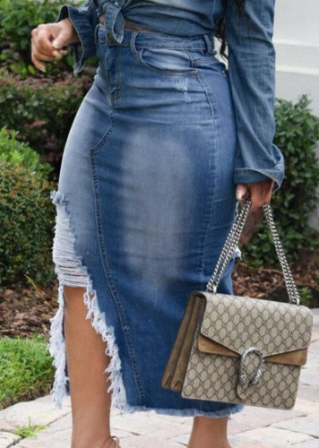 Summer High Waist Blue Ripped Slit Denim Skirt