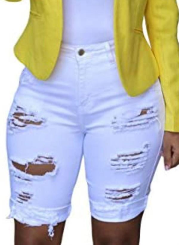 Pantalones cortos de mezclilla blancos rasgados de cintura alta de verano