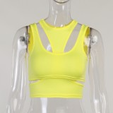 Sommer Sexy Gelbes Party-Crop-Top mit Cut-Outs