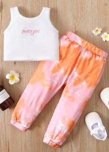 Conjunto de 2 peças para bebê menina verão camisa branca e calças tie dye