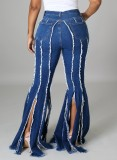 Jeans acampanados de borlas azules de cintura alta de verano