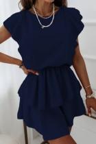 Летнее повседневное синее платье с плиссированной юбкой и оборками