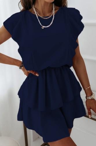 サマーカジュアルラッフルブルースケータードレス