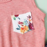 Conjunto de 2 peças para crianças menina verão floral e shorts jeans