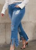 Jeans azules rasgados de cintura alta de talla grande de verano