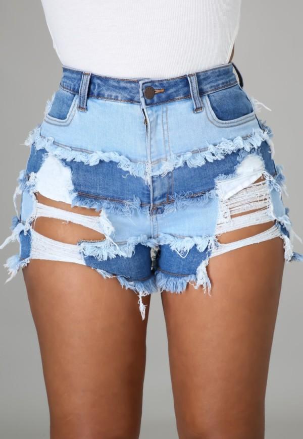 Sommer-Jeans-Shorts mit hohem Bund und Rissen