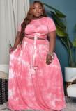 Sommer Plus Size Tie Dye Pink geknotetes Crop Top und langer Rock 2er Set