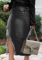 Falda de mezclilla con abertura rasgada negra de cintura alta de verano
