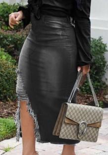 Летняя черная джинсовая юбка с рваным разрезом и высокой талией