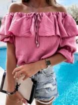 Sommer Casual Rose Off Shoulder Rüschenhemd