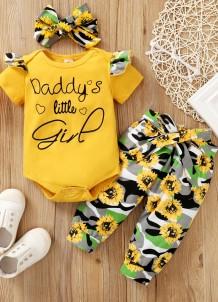 Conjunto de calças florais de 3 peças para bebê menina verão