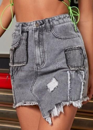Summer High Waist Dark Grey Ripped Mini Denim Skirt