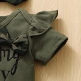 Set di pantaloni mimetici estivi da 3 pezzi per bambina
