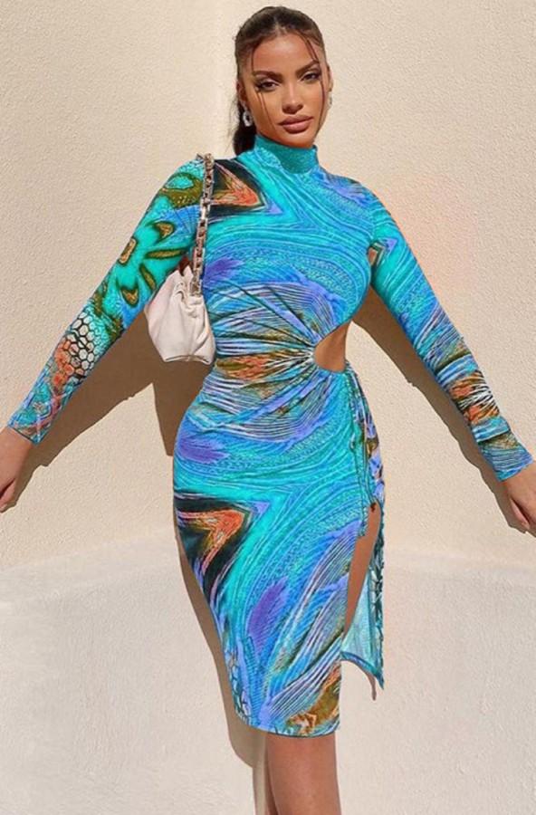Vestido de fiesta con abertura y corte sexy con estampado de verano y mangas completas