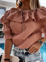 Zomer casual roze off-shoulder shirt met ruches