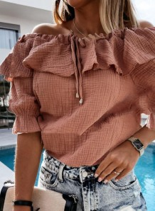 Camisa casual de verão rosa com babado no ombro