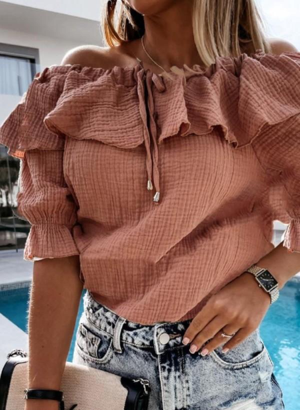 Sommer Lässiges Rosa Schulterfreies Rüschenhemd