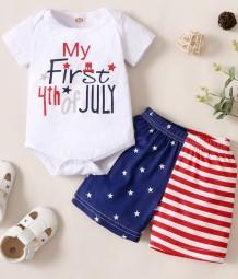 Conjunto de Shorts de 2 peças com estampa de bandeira de verão para bebê