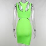 Mini vestido sin mangas de fiesta de corte verde sexy de verano