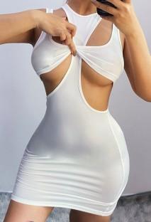 Zomer sexy witte uitgesneden partij mouwloze mini-jurk