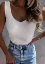 Sommer weiße Basic Strickweste